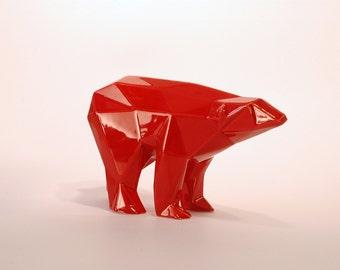 Orso poligonale in ceramica samlto rosso selenio