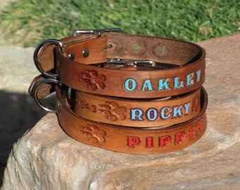 BROWN 1 inch, 25mm Custom Handmade Leather Dog Collar, Personalized Pet Name optional Phone Number, FREE SHIPPING in U.S.