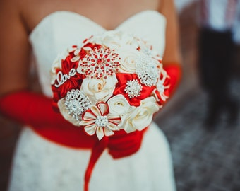 Weddings Bouquets, Fabric Bouquet,  Bridal Bouquet, Wedding Bouquet Red, Wedding Bouquet Ivory,