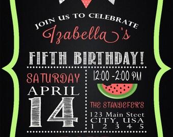Watermelon Picnic Birthday Invitation PRINTABLE DIY