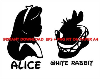 Alice and the White Rabbit , Clip Art,T shirt, iron on, sticker, Vectors files,couple clipart