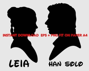 Star wars Han solo and Leia, Clip Art,T shirt, iron on, sticker, Vectors files,couple clipart