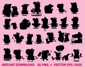 Peppa pig Silhouettes clipart, Clip Art,T shirt, iron on, sticker, Vectors files,couple clipart