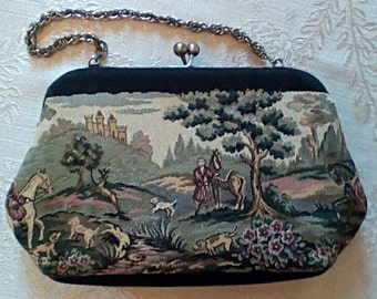 Vintage Tapestry Evening Bag