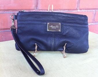Vintage Wallet Wristlet - Genuine Black Leather - Supple Texture Purse - Detachable Strap - Zippered Closer -