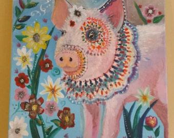 "Festive Piglet-Acrylic painting on 16x20"" Canvas"