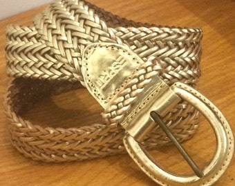 Vintage ESPRIT Braided Gold Leather