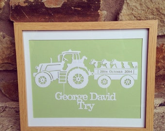 Tractor and animal trailer personalised baby papercut
