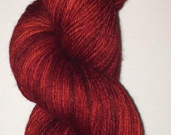 Hand Dyed SW Merino/Nylon blend (75/25) - Ruby Slipper