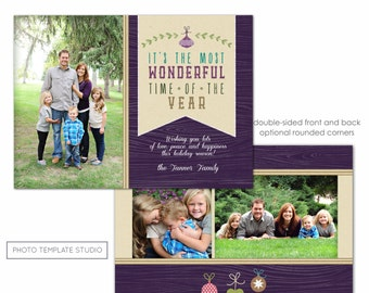 Photoshop Template - Holiday Card, Christmas Card, Rustic Woodsy Holidays, Photo Card - INSTANT DOWNLOAD