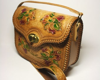Handmade hand-tooled leather handbag, hand-carved bag,  floral bag, handcarved purse, tooled bag, carved bag, shoulderbag, carved purse
