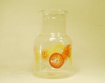 Vintage Pyrex Juice Carafe, Orange and Lemon Pitcher, Vintage Citrus Slice Decanter
