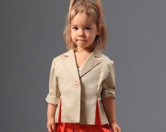 Classic girls jacket/Minimalist chic one button blazer/Vintage girls blazer/Toddler girl suit coat/Boyfriend blazer coat/Rolled up sleeves