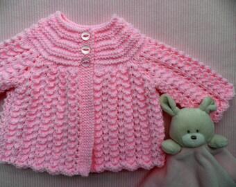 Baby girl cardigan, pink matinee coat, handknitted cardigan, baby sweater, handmade jumper, 0 - 3 months, newborn baby present, baby gift