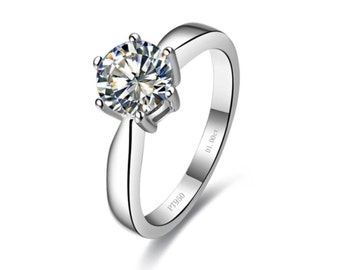 Sterling Silver 1ct diamond, Synthetic Simulated  Diamond Ring, Diamond Promise Ring, Engagement Ring