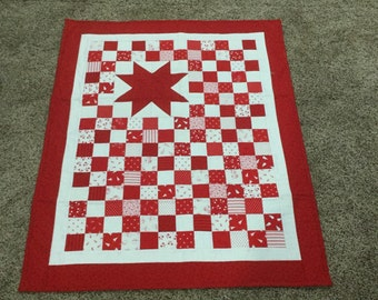 Red and White Snowman Quilt/Wallhanging