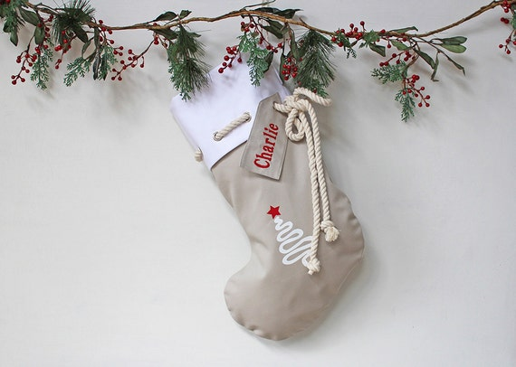 Personalised Christmas Stocking in stone with Christmas Tree, Christmas Decor, Santa Stocking, Christmas Decoration,