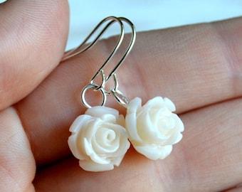 Bridesmaid earrings Flower dangle earrings Ivory rose earrings Ivory Bridesmaid jewelry Wedding earrings Ivory jewelry Bridesmaid gift