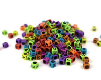 300 Bright Multicolor Cubic Alphabet Kandi Beads