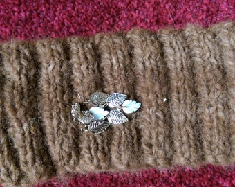 Pure premium alpaca blanket  headband handspun luxury leaves cascade embellishment
