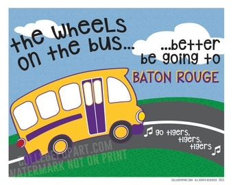 """LSU Tigers    """"Wheels on the Bus"""" Kids or Baby Room Art   New Baby or Young Fan Gift   Matted 8 x 10 Print"""