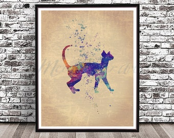Sphynx cat watercolor painting Watercolour Print Poster Illustration giclee no hair Poster Art Sphinx hairless fancy show kitty feline