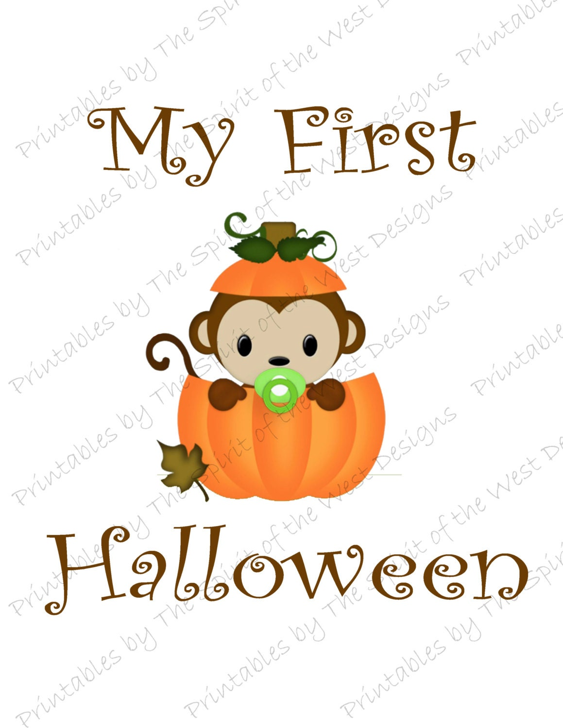 my first halloween image baby monkey in a pumpkin printable