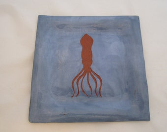 Ceramic Blue Squid Plate