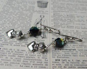 Hand Made Black Iridescent Swarovski Crystal Earrings with Silver Crown-Heart – ERU041