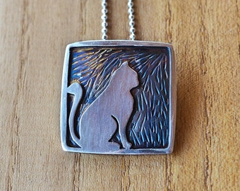 Cat, oxidized sterling silver overlay, necklace