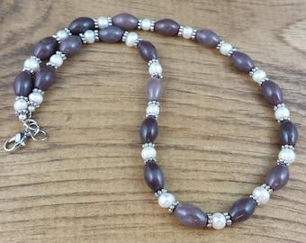 Purple Aventurine & Pearl Necklace