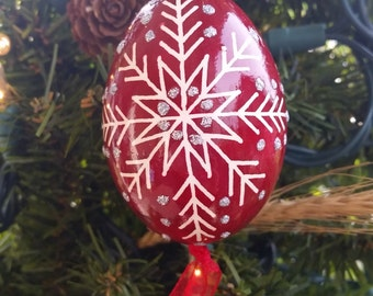 Dark Red Christmas Ornament Pysanky with Silver Glitter Accents