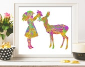 Girl nursery decor Deer nursery wall art print kids gift baby girl child art deer nursery art Gift 8X10 colorful girl and baby deer