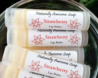Natural Lip Balm Strawberry - Extra Healing/Moisturizing Chapstick - Handmade Lip Balm - Lip Butter - Vegan - Chapstick