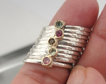 DUERRY's Art Gold & Silver Tourmaline Ring 7 (I r416)