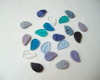 Czech glass leaves (20), Czech glass leaf beads, leaf drops, multi colour leaves, leaf charms, 15mm glass leaf