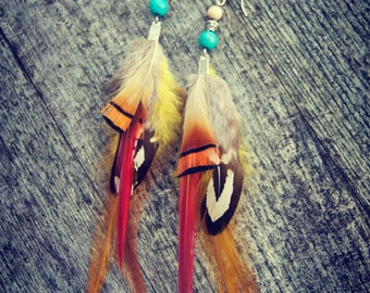 Feather Ethnic Earrings Tribal Hippie Bohemian Gipsy Nomad