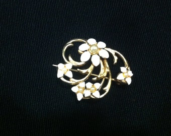 White enamel and seed pearl pin