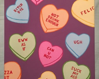 Mean Conversations Candy Hearts Painting