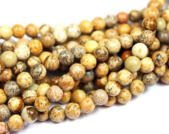 4mm Picture Jasper Gemstone Beads - 15.5inch Full strand - Round Gemstone Beads