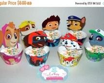 ON SALE Paw Patrol cupcake holder and wrappers, Paw patrol digital cupcake