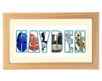 FINDING DORY Personalised Name Print Art - Gift Idea - Nemo - Dory - Squirt - Finding Nemo - Marlin - Bruce - Destiny - Flo -