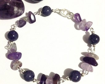 Amethyst and purple jade bracelet