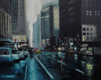 NEW YORK painting - oil painting - New York city art - rain in New York