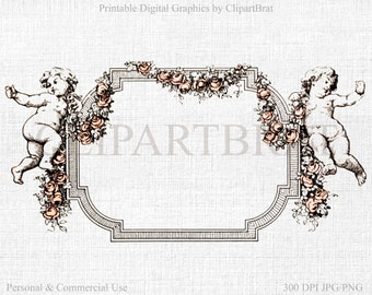 VINTAGE FRENCH FRAME Clipart Commercial Use Clipart Frame Digital Clipart Victorian Frame Fabric Transfer Image Iron on Transfer Jpg/Png