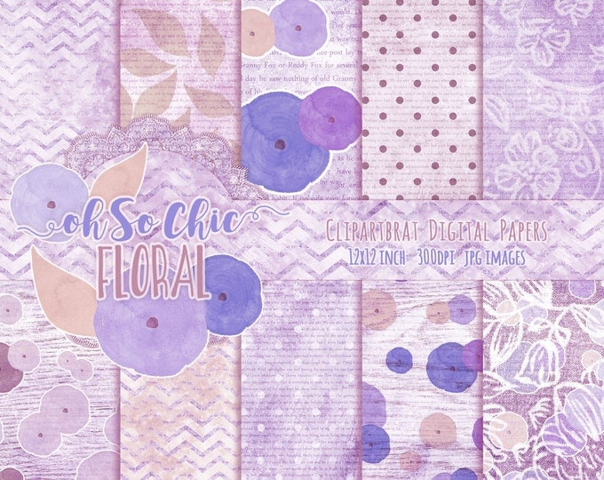 FLORAL WATERCOLOR Digital Paper Pack Commercial Use Backgrounds Blush Blue & Purple Digital Paper with Shabby Chic Wood Lace Digital Paper