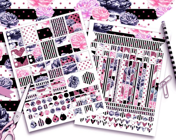 NAVY & PINK WATERCOLOR Sticker Sheets Black White Pink Floral with Metallic Stripes Sticker Printable Sticker Erin Condren Planner Sticker
