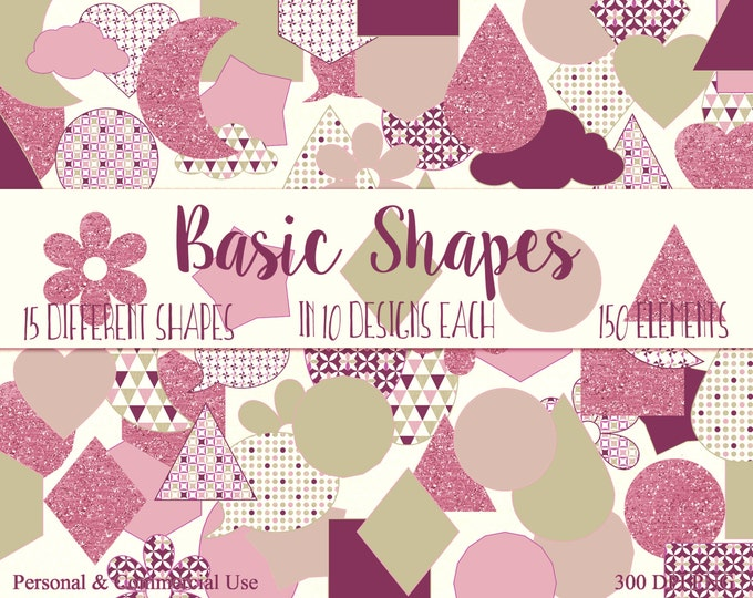 FUN SHAPES CLIPART Commercial Use Clip Art Green & Pink Circles Triangle Hexagon Heart Star Cloud Planner Sticker Clipart Shape Graphics