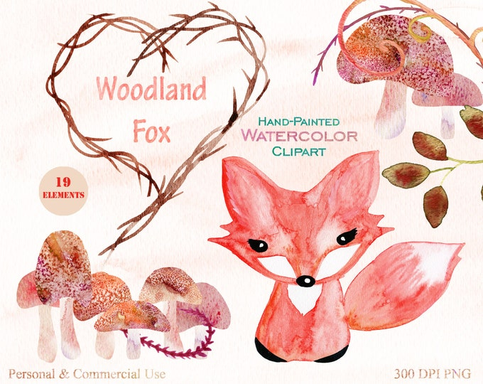 WOODLAND FOX Clipart Commercial Use Clipart Watercolor FOX, Mushrooms, Branches, Heart Frame, Vines Hand-Painted Watercolor Fox Graphics