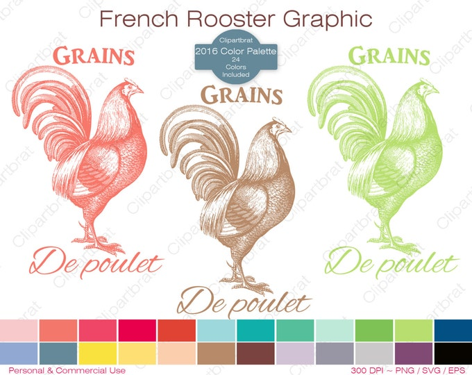 FRENCH ROOSTER Clipart Commercial Use Clipart Chicken Feed Grain 2016 Color Palette 24 Colors Rooster Vector Graphic Digi Stamp Png Eps Svg